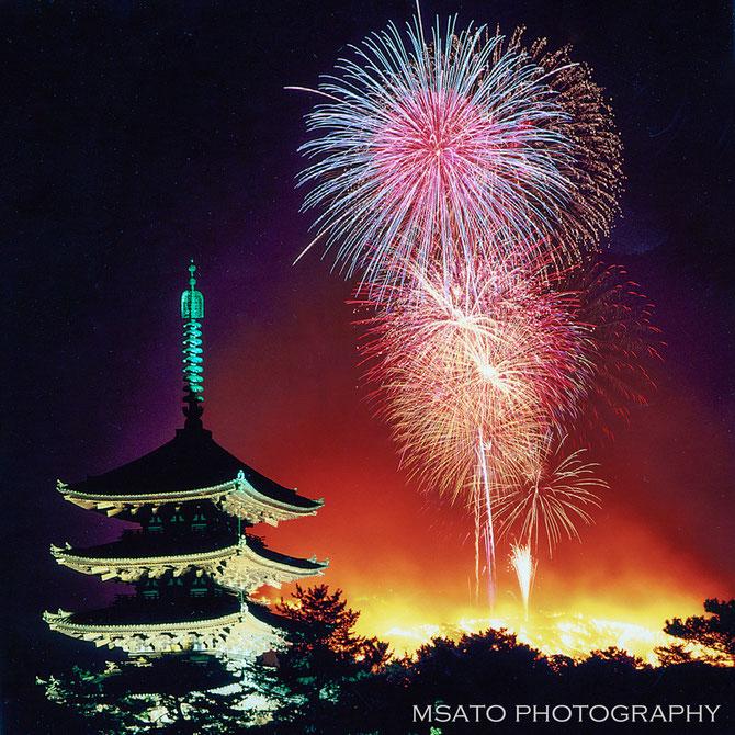 #Japan #Nara #Yamayaki #Wakakusayama #templo #Koofukuji #Gojunoto #Buda #hanabi #Queima_da_montanha #Fogos_de_artificio #firework