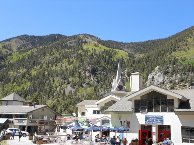 The little town of the Taos Ski Valley, basically right at the bottom of one of the main ski lifts, where many of our classes and rehearsals will take place.  It's about a 10 minute walk from my condo, across a ski run.