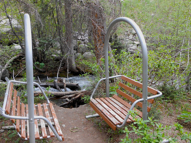 This is where I've been practicing my silence, solitude, and journaling. There is a little nature trail that runs along this Rio Hondo, dotted with ski lift benches.  Love it! It's like Jesus is sitting right across from me!