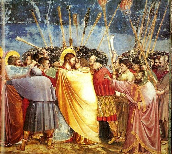 「ユダの接吻」 ジョット作1305年 200×185cm フレスコ画