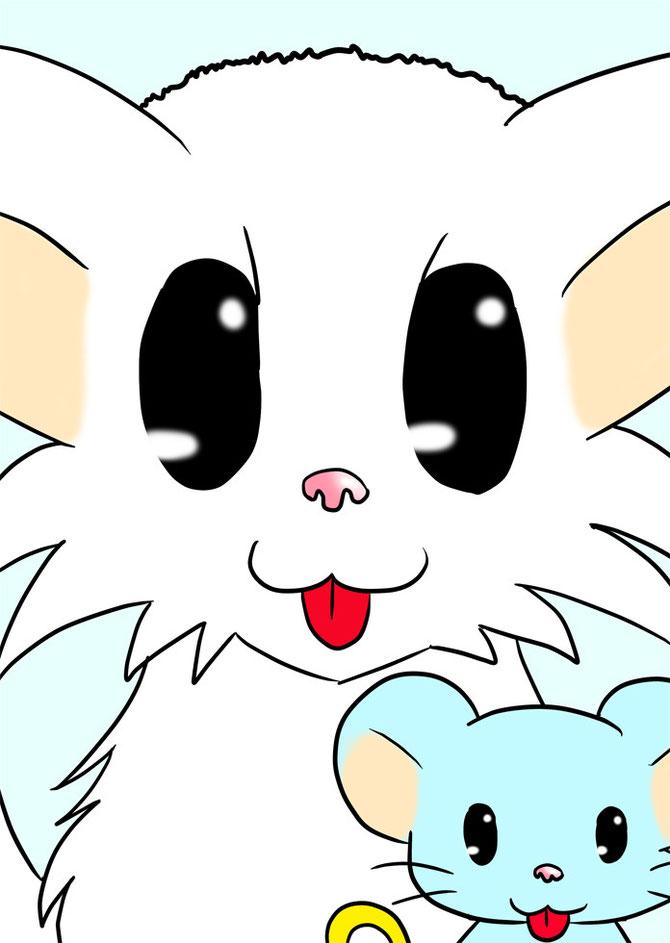 舌を出すマンチカン猫とネズミロボ