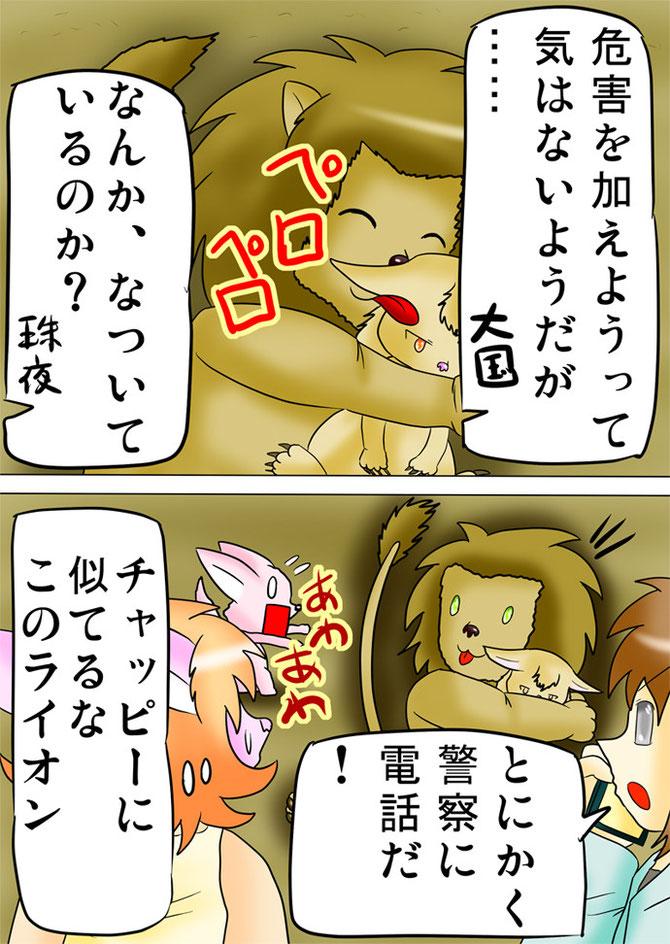 フクロギツネをなめるライオン