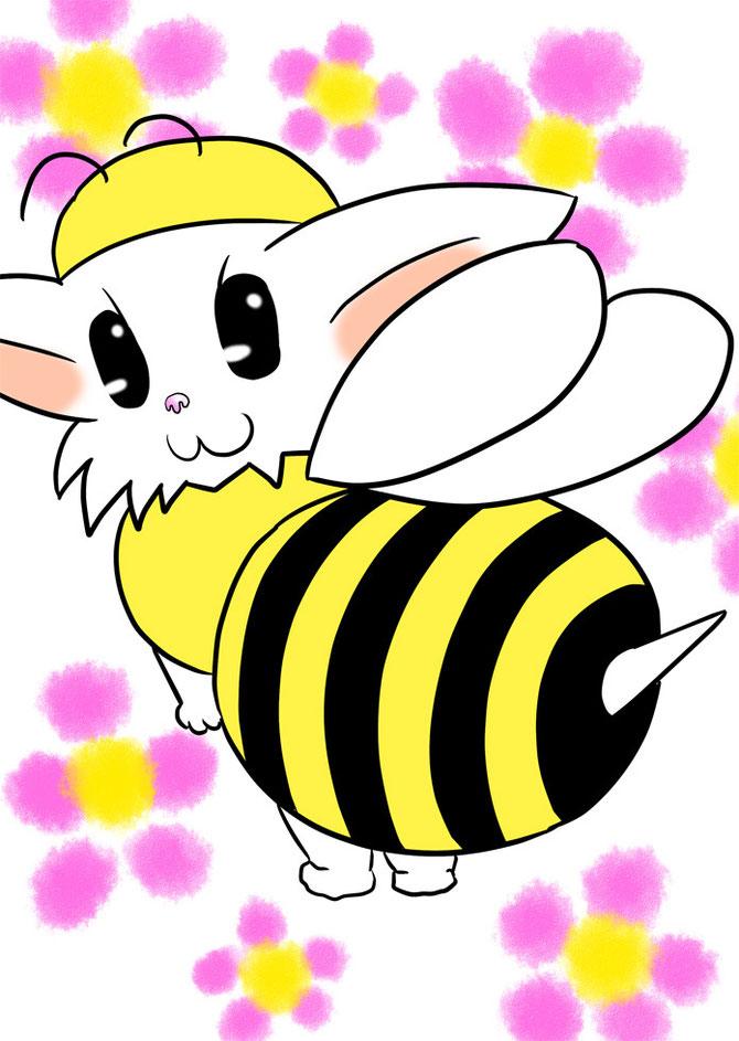 蜂の着ぐるみを着て針をむけるマンチカン猫