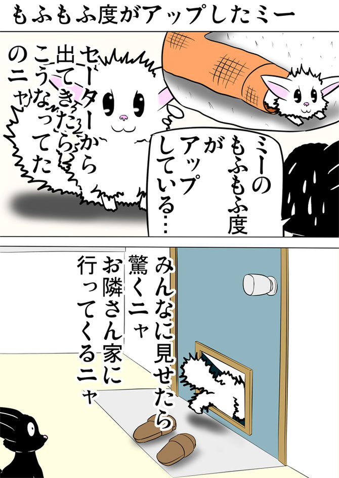 体毛が逆立っている白猫