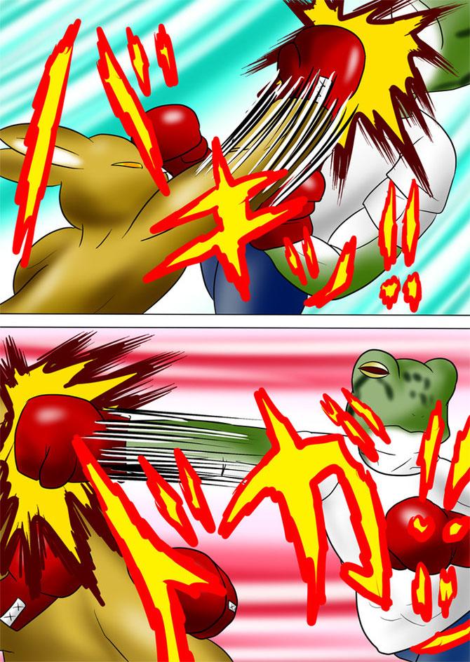 殴り合う蛙男と筋肉カンガルー
