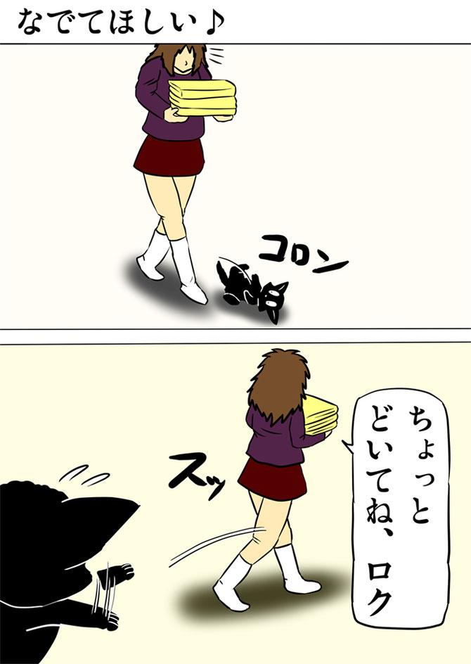 バスタオルを運ぶ女性の前で転がる黒猫