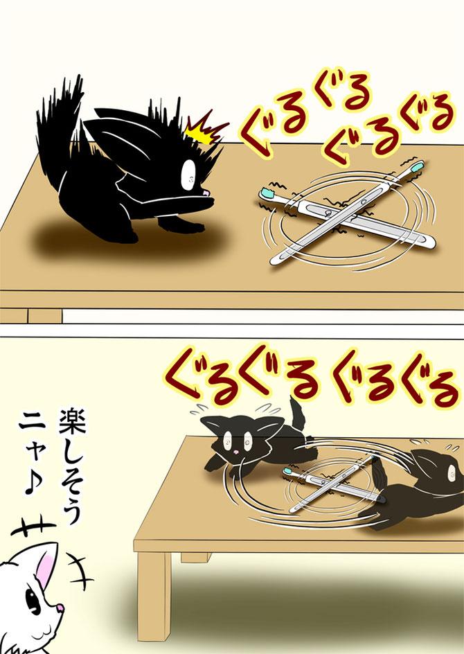 回転する電動歯ブラシから逃げ回る黒猫