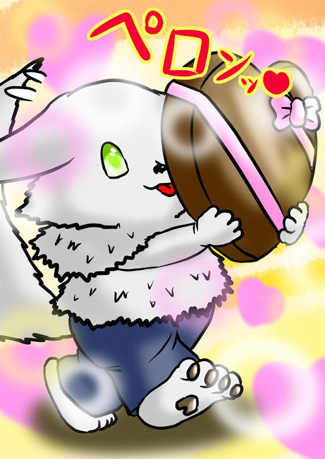 大きなバレンタインチョコをなめるちび犬息子