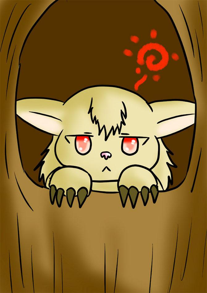木の穴の巣でぼんやりするフクロギツネ