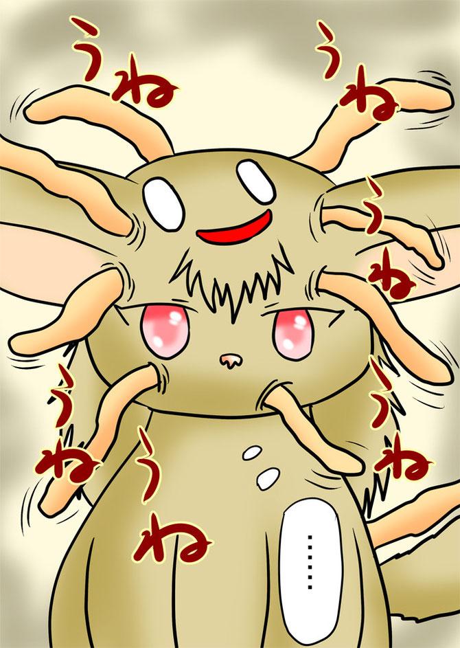 顔から無数の触手と顔が生えているフクロギツネ