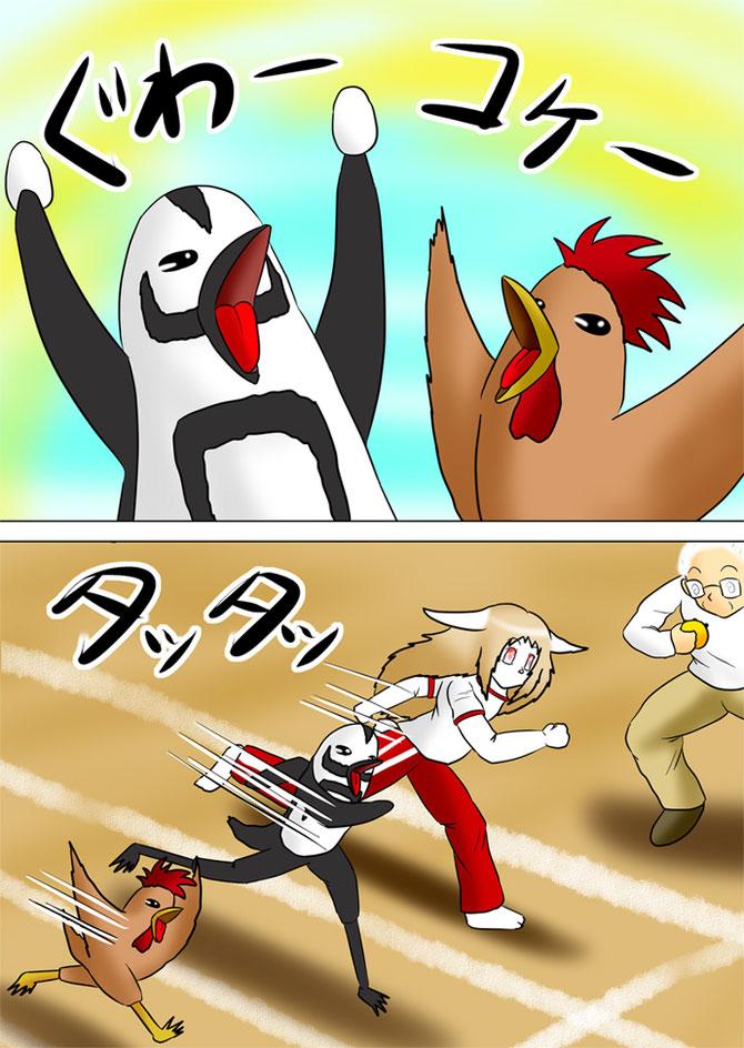 ウサギ娘と一緒に走るペンギンと鶏