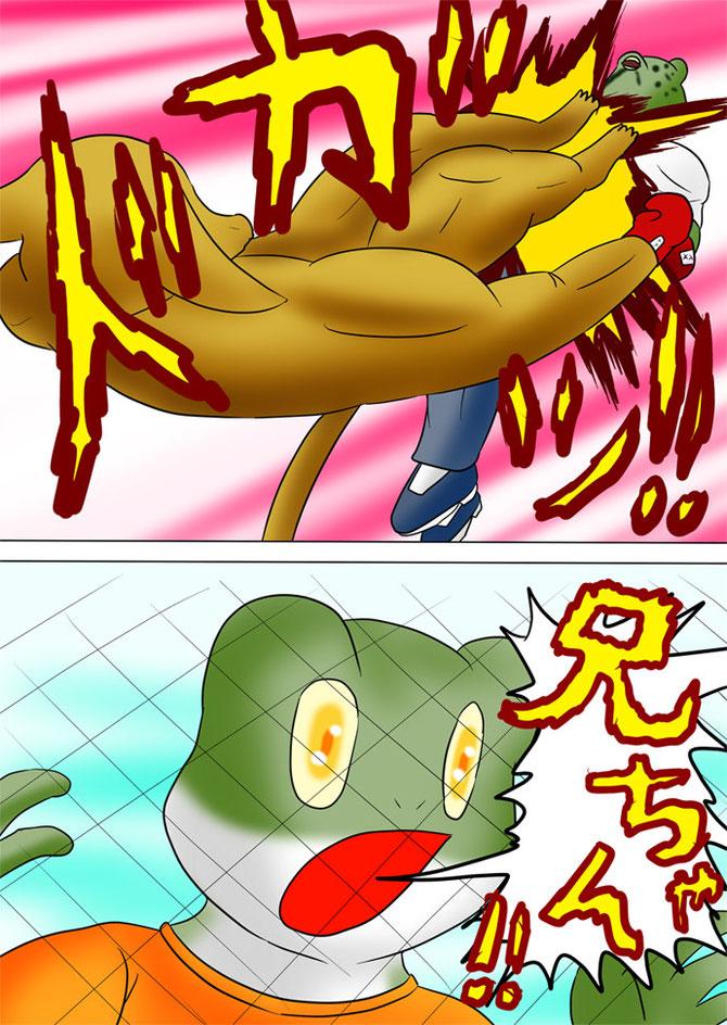 蛙男にドロップキックをする筋肉カンガルー