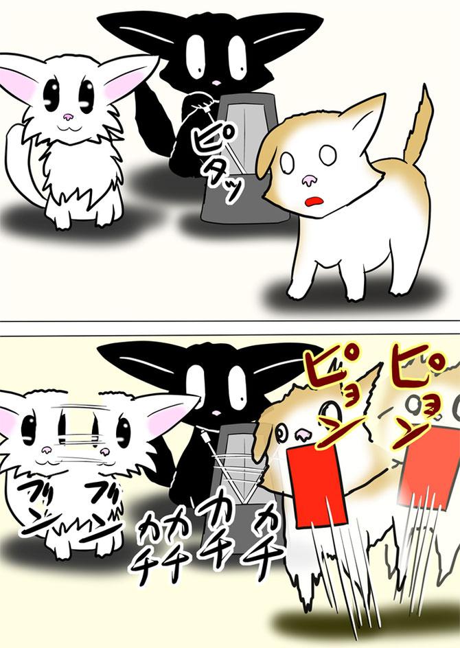 メトロノームを止める黒猫に合わせて動きを止める子猫達