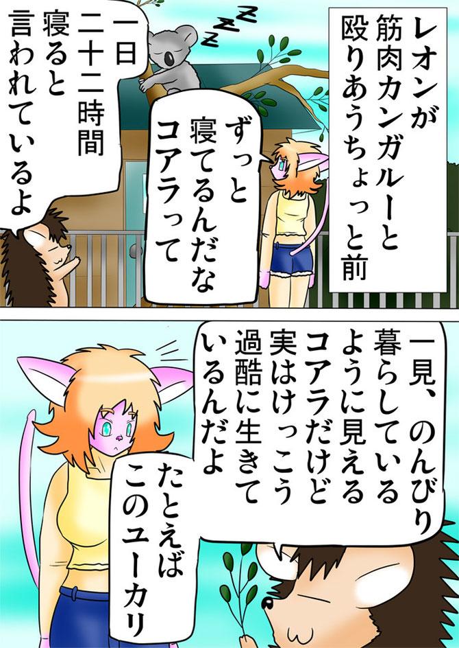 コアラを見上げる猫少女とハリネズミ娘