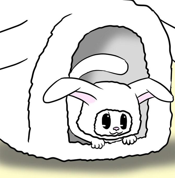 ウサギの被り物を被り、ウサギベッドに寝るマンチカン猫