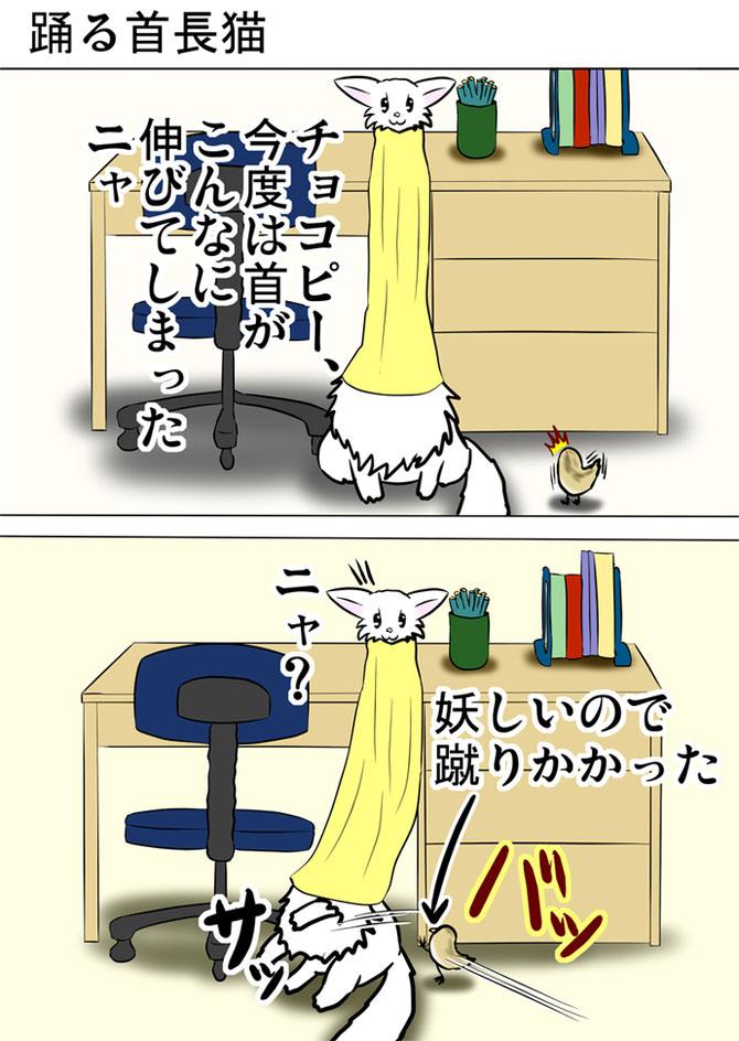 タオルを被った猫と机の上でタオルを巻いている猫
