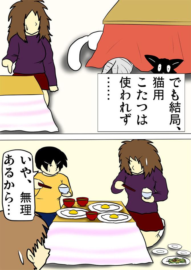 小さな炬燵で食事をする人たち