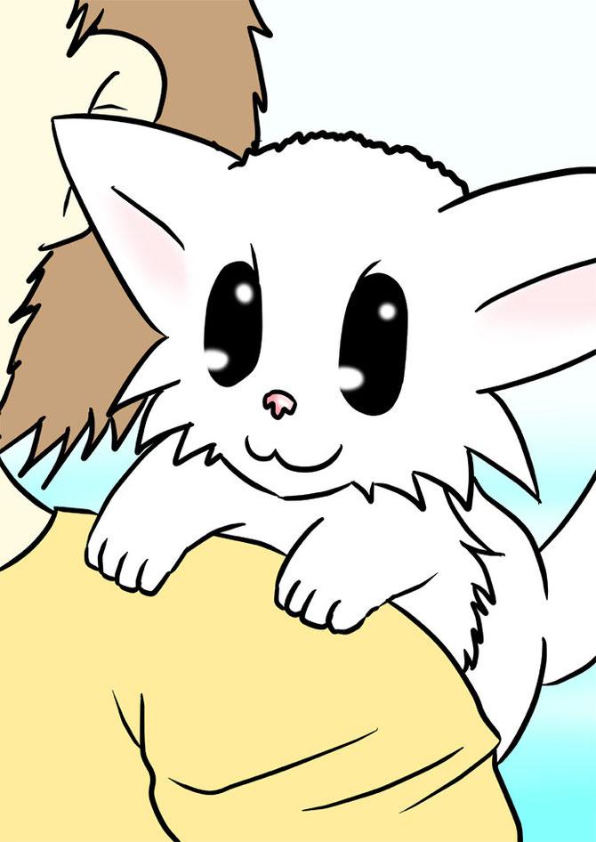 肩に乗るマンチカン猫