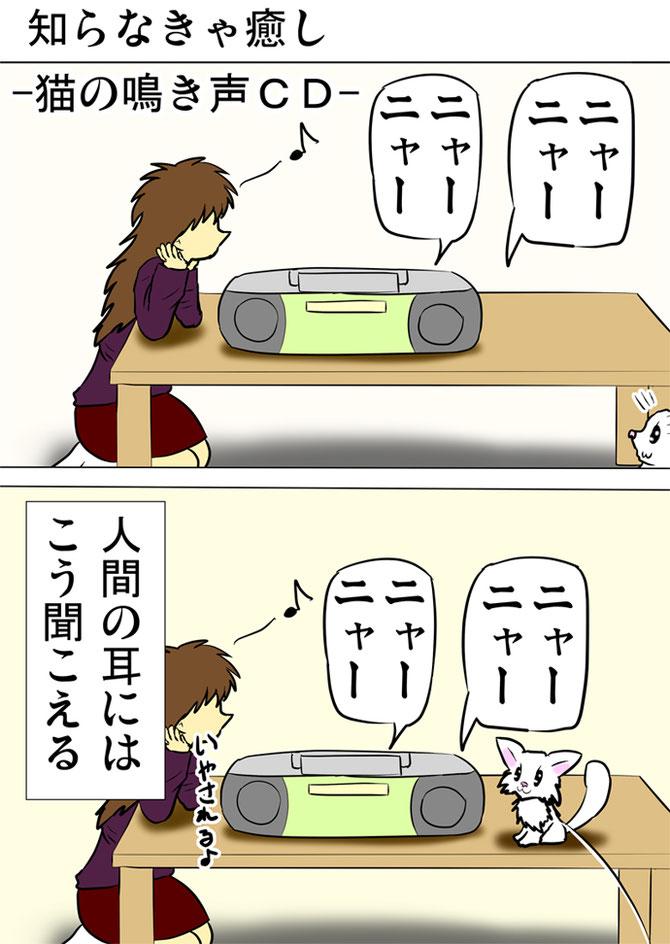 CDデッキで猫の鳴き声を聞く女性と白猫