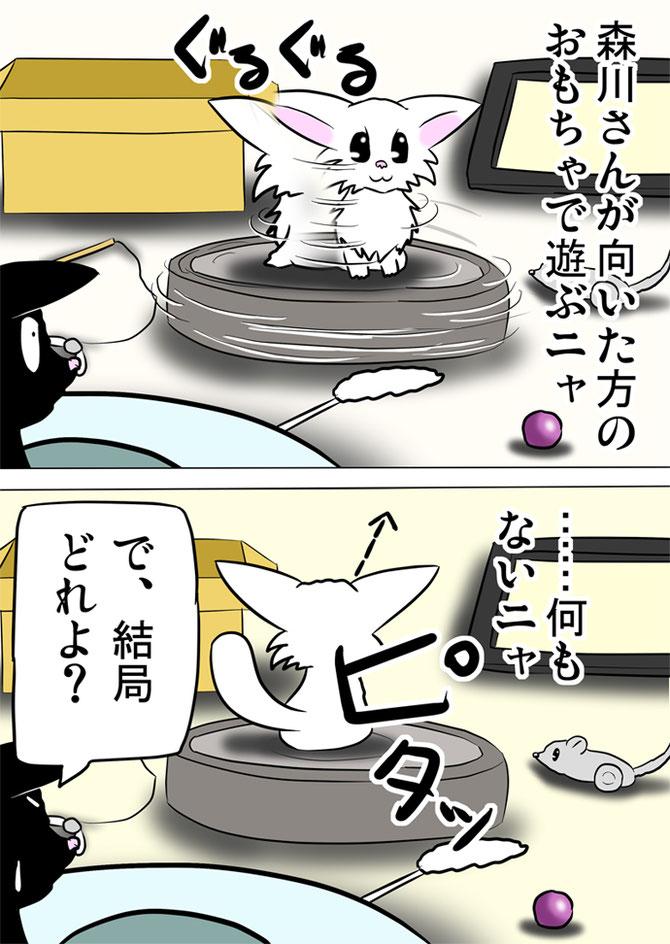 白猫をのせて回転するロボット掃除機