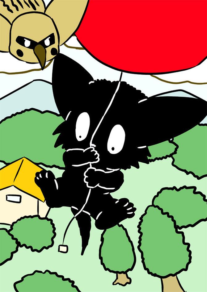風船で空の旅をする黒猫