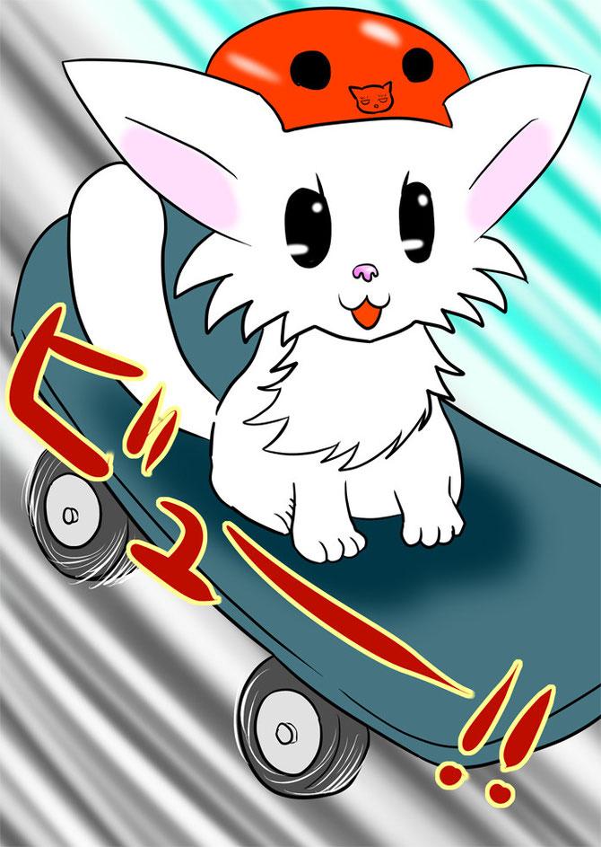 スケボーに乗って坂道を下る白猫