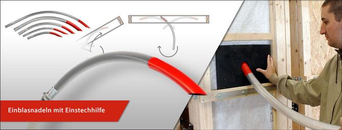 Einblasnadeln zum Einblasen und Nachverdichten von Einblasdämmstoffen wie Zellulose, Holzfaser, Steinwolle und Glaswolle.
