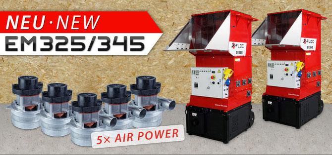 Dämmstoff-Einblasmaschine EM325 und EM345 mit je fünf Gebläsen