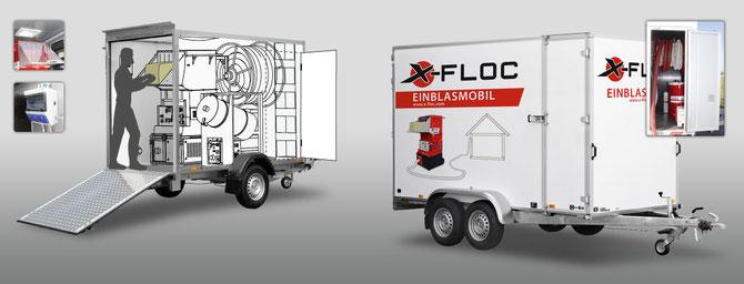 Einblasanhänger für die mobile Dämmstoff-Verarbeitung