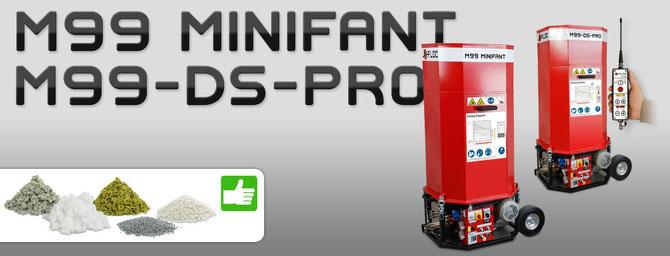 Minifant M99 für Zellulose, Glaswolle, Steinwolle, EPS Granulat und Perlite Einblas-Dämmung.