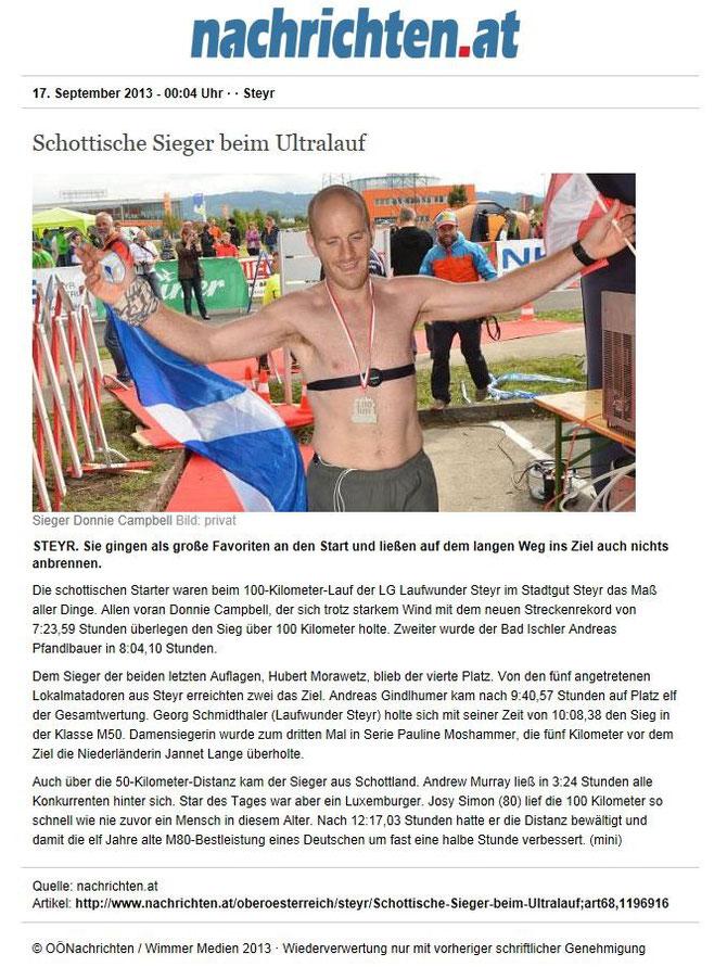 100 km Stadtgut Steyr Ultralaufevent 2013