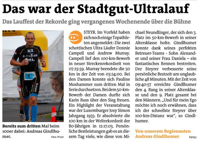 100km Stadtgut Steyr Ultralauf Event 2013