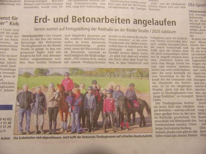 Artikel der Kreiszeitung vom Freitag, 09.11.2018