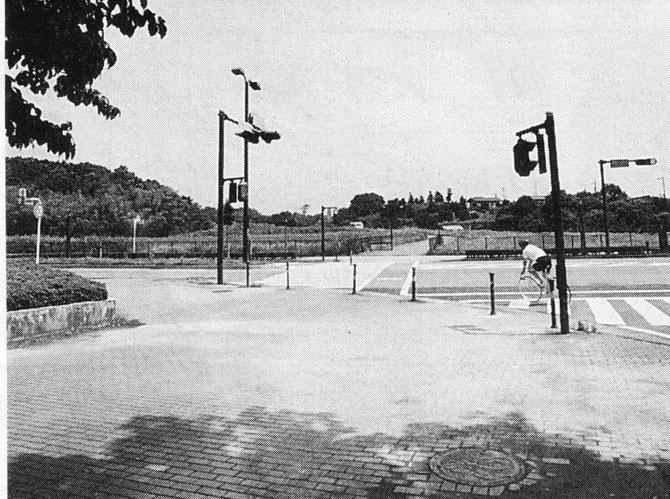 当時の藤沢市広報紙掲載写真 SFCから北側、谷戸入口付近を見る。フェンスの門があり、1995年、谷戸埋立のダンプが入った通路が谷戸内に通じている。2001年、この奥に慶応大学看護医療学部が開校し、現在は道路向側の左側には新病院ができ、右側にはコンビニ等が建ち、谷戸入口から谷戸奥に向かって9.3haが開発されている。
