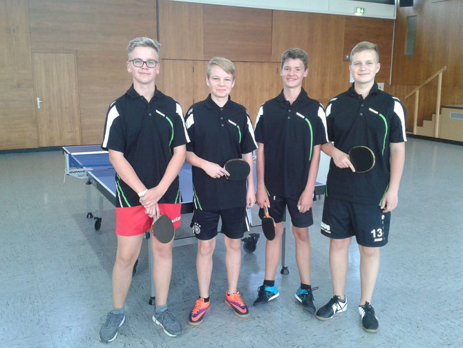 Jugendmannschaft des SV Odersbach:von links,Manuel Pissarek,Markus Joris, Tom Schwender und Sebastian Ebel