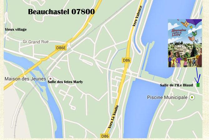 Plan d'accès à la Salle de L'Ile Blaud à Beauchastel (07800) - Lieu des Rencontres autour du livre 2015
