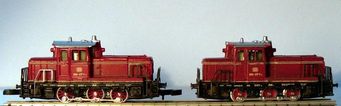 Links Märklins V60 mit aktuellen Rädern von Z-fm, rechts mit werksseitig ausgerüsteten Rädern.