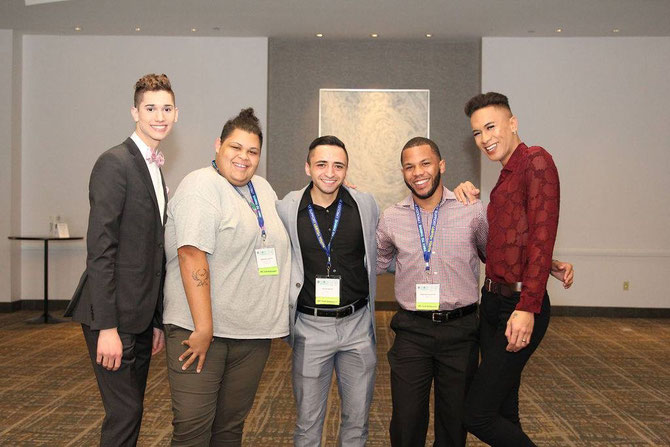 Seth Owen (left) pictured with fellow Human Rights Campaign Youth Ambassadors from left to right Jonathan Leggette, Jacob Kanter, Zimar Batista, and Avi Pacheco