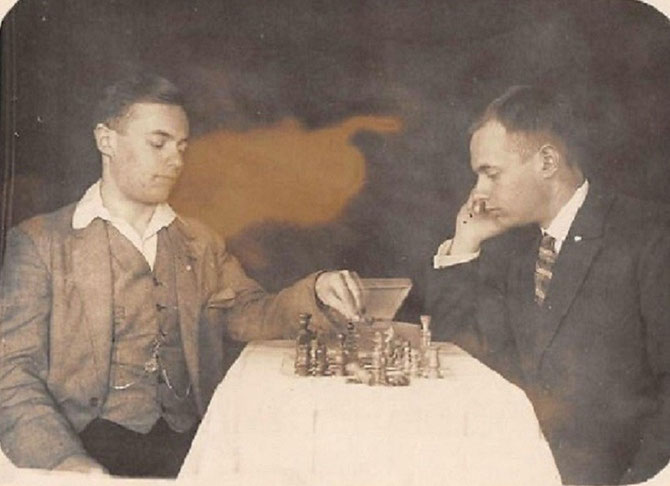 Two young Chess Player, Old Photography