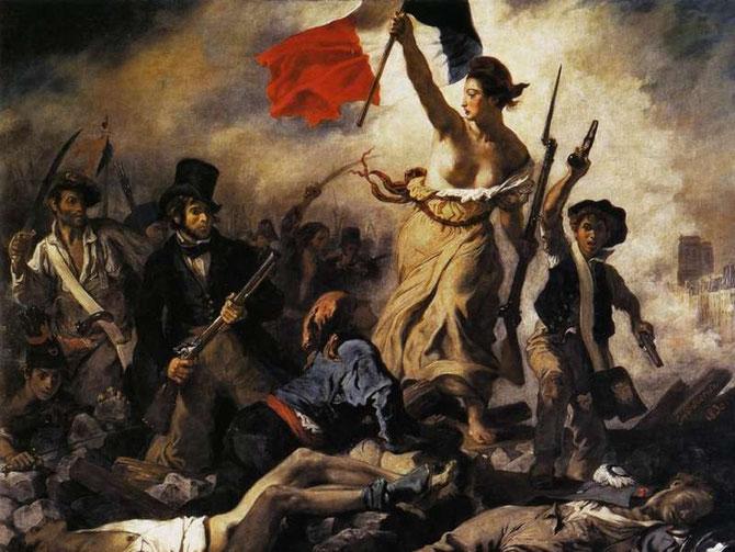 La libertad guiando al pueblo. Delacroix (1830)