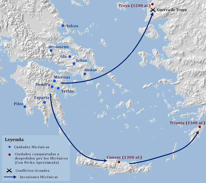 Mapa de las principales ciudades micénicas.