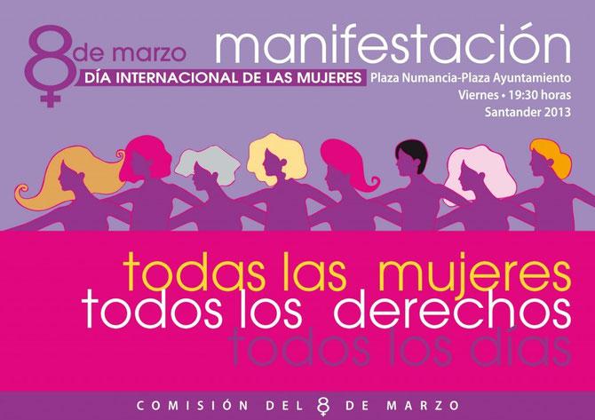 Cartel para convocar la manifestación del 8 de marzo de 2013 en Santander.