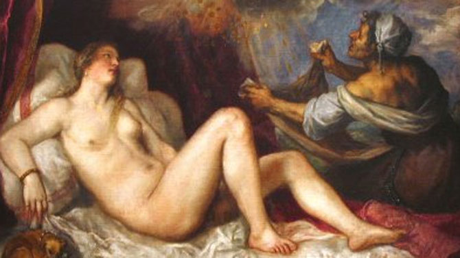 Danae recibiendo la lluvia de oro. Tiziano (1490-1566)