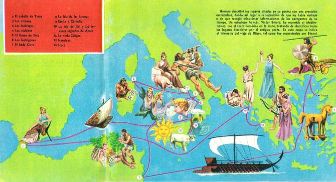 Los viajes de Odiseo (Ulises) según la reconstrucción de Victor Berard.