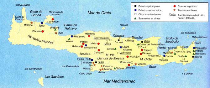Mapa de la Creta minoica.