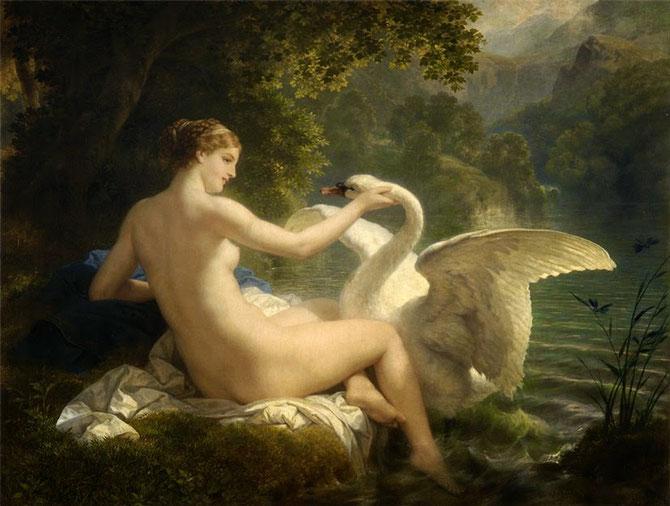 Leda y el cisne (1886). Heinrich Hofmann (1824-1911)