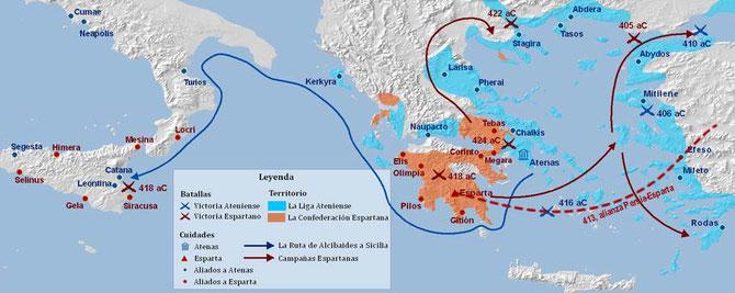 Mapa de la guerra del Peloponeso