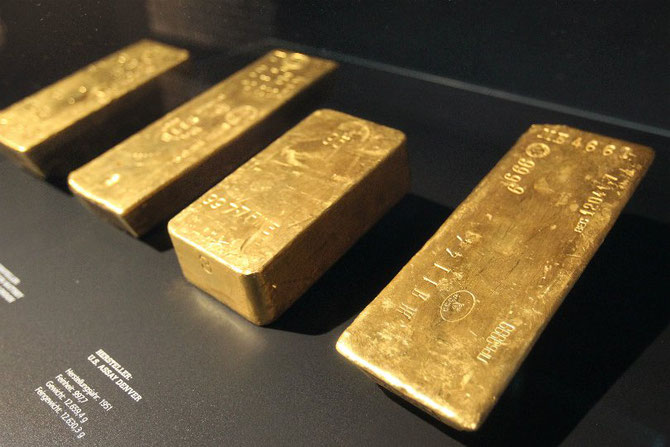 Bundesbank Gold. Foto von der Ausstellung: Getty Images