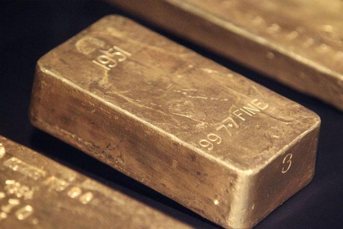 Bundesbank Gold. Foto von der Ausstellung: Getty Immages