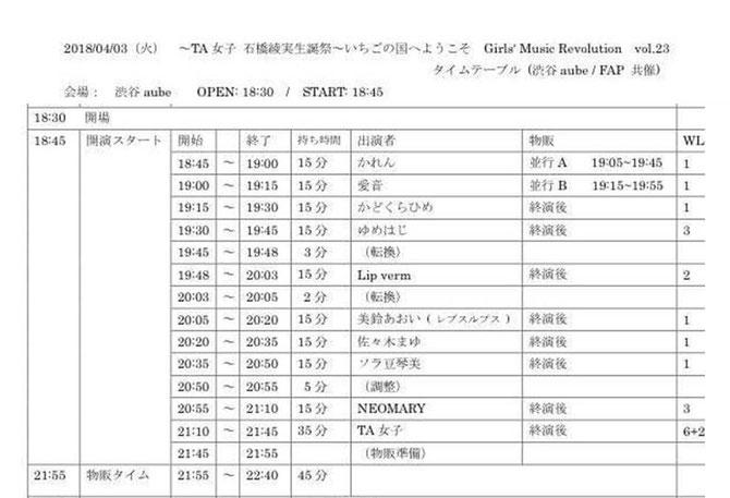 4月3日(火)〜TA女子 石橋綾実生誕祭〜いちごの国へようこそ Girls' Music Revolution vol.23